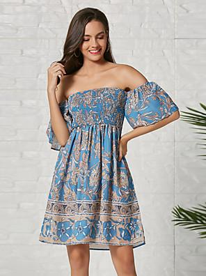 cheap Down to $2.99-Women's Sheath Dress Knee Length Dress - Half Sleeve Geometric Summer Off Shoulder Casual 2020 Blue S M L XL XXL