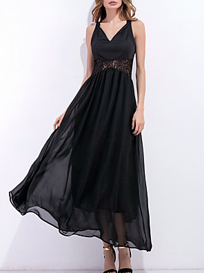 cheap Cocktail Dresses-Women's A-Line Dress Maxi long Dress - Sleeveless Solid Color Summer Work Sexy 2020 Black S M L XL