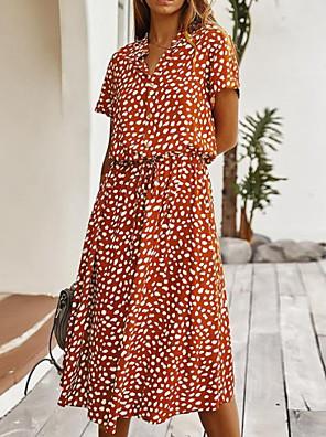 preiswerte Für Junge Frauen-Damen A-Linie Kleid Midikleid - Kurze Ärmel Blumen Sommer Freizeit mumu 2020 Wein Beige S M L XL
