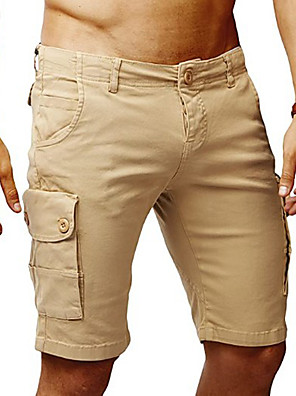 cheap Men's Exotic Underwear-Men's Basic Daily Holiday Slim Tactical Cargo Pants Solid Colored Black Patchwork Outdoor Summer Fall Black Khaki Beige US34 / UK34 / EU42 US36 / UK36 / EU44 US38 / UK38 / EU46