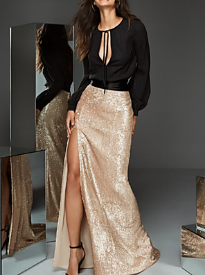 cheap Prom Dresses-Two Piece Color Block Elegant Party Wear Prom Dress Jewel Neck Long Sleeve Sweep / Brush Train Sequined with Sequin Split 2020