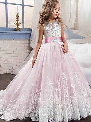 cheap Christening Gowns-Princess / Ball Gown Court Train Wedding / Party Flower Girl Dresses - Tulle Sleeveless Jewel Neck with Bow(s) / Beading / Appliques