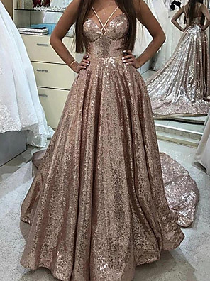 cheap Prom Dresses-A-Line Beautiful Back Sparkle Engagement Formal Evening Dress Spaghetti Strap Sleeveless Court Train Sequined with Pleats Sequin 2020