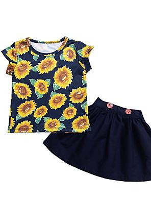cheap Baby Girls' One-Piece-Baby Girls' Basic Floral Sleeveless Regular Clothing Set Navy Blue