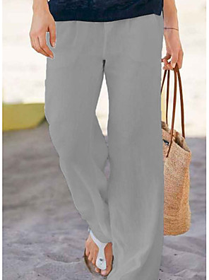 cheap Women's Pants-Women's Basic Loose Chinos Pants - Solid Colored White Gray S / M / L
