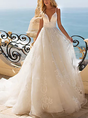 cheap Wedding Dresses-Ball Gown Wedding Dresses V Neck Sweep / Brush Train Lace Tulle Sleeveless Beach with Appliques 2020