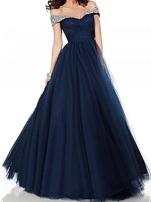 cheap Wedding Dresses-A-Line Elegant Glittering Engagement Formal Evening Dress Off Shoulder Short Sleeve Floor Length Tulle with Pleats Crystals 2020