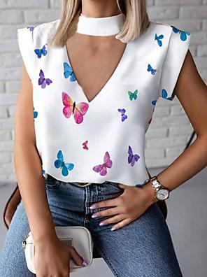 cheap Women's Blouses & Shirts-Women's Blouse Animal V Neck Tops Basic Top White Black Red