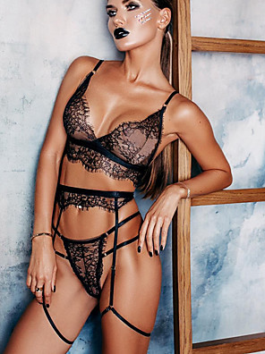 cheap Suits-Women's Lace Backless Mesh Suits Nightwear Solid Colored Black M L XL