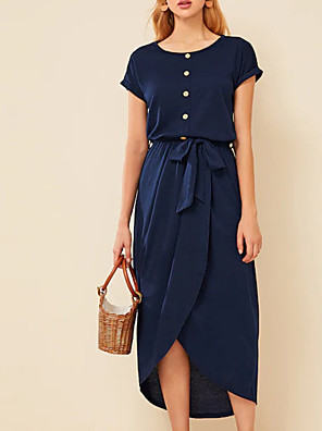 cheap Casual Dresses-Women's Shift Dress Midi Dress - Short Sleeves Solid Color Summer Work Casual 2020 Navy Blue S M L XL XXL