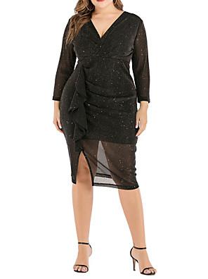 cheap Plus Size Dresses-Women's A-Line Dress Knee Length Dress - Long Sleeve Solid Color Summer Casual Sexy 2020 Black XL XXL XXXL XXXXL XXXXXL