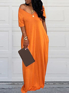 cheap Prom Dresses-Women's Shift Dress Maxi long Dress - Short Sleeves Solid Color Spring Summer Casual Weekend 2020 Black Orange XS S M L XL XXL XXXL