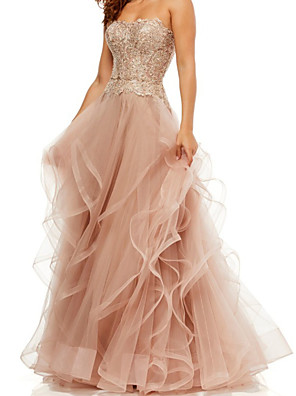 cheap Prom Dresses-A-Line Elegant Vintage Engagement Formal Evening Dress Strapless Sleeveless Floor Length Tulle with Tier Embroidery 2020