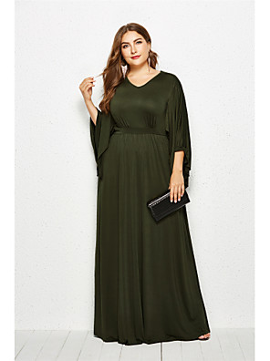 cheap Plus Size Dresses-Women's Swing Dress Maxi long Dress - Long Sleeve Solid Color Summer Fall Casual Boho Going out 2020 Black Army Green Royal Blue Navy Blue XL XXL XXXL XXXXL