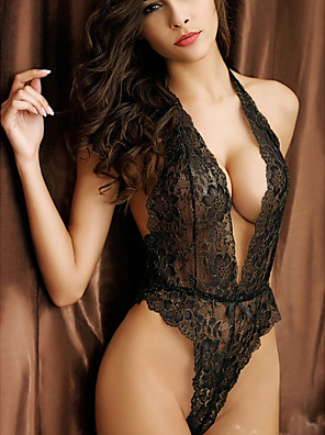 cheap Suits-Women's Lace Backless Bodysuits Nightwear Solid Colored Black One-Size