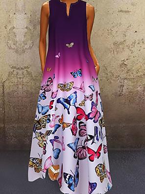 cheap Maxi Dresses-Women's A-Line Dress Maxi long Dress - Sleeveless Butterfly Color Gradient Print Summer V Neck Plus Size Casual 2020 Blue Purple Red S M L XL XXL XXXL XXXXL XXXXXL