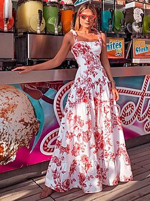 cheap Women's Dresses-Women's Strap Dress Maxi long Dress - Sleeveless Floral Slim White S M L XL