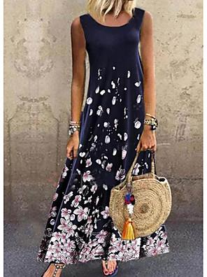 cheap Maxi Dresses-Women's A-Line Dress Maxi long Dress - Sleeveless Floral Print Summer Casual Daily 2020 Navy Blue M L XL XXL XXXL