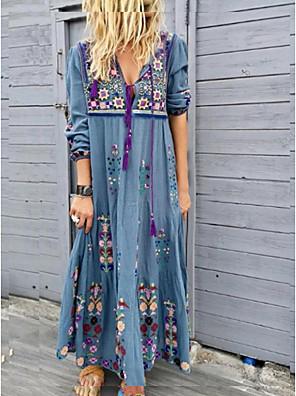 cheap Maxi Dresses-Women's Maxi long Dress - Long Sleeve Tribal Print Spring Summer Vacation Boho Loose High Waist 2020 Red Brown Gray Light Blue S M L XL XXL XXXL XXXXL XXXXXL