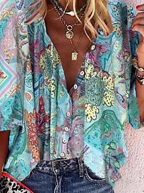 cheap Women's Blouses & Shirts-Women's Shirt Graphic Shirt Collar Tops Loose Summer Light Blue