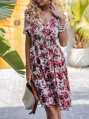 preiswerte Für Junge Frauen-Damen A-Linie Kleid Knielanges Kleid - Kurze Ärmel Blumen Sommer Freizeit 2020 Rosa XS S M L