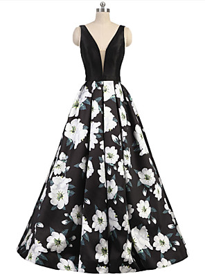 cheap Evening Dresses-A-Line Floral Minimalist Party Wear Prom Dress V Neck Sleeveless Floor Length Satin with Pleats Pattern / Print 2020