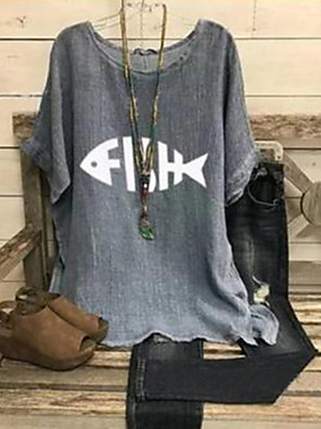 cheap Print Dresses-Women's Blouse Geometric Short Sleeve Loose Tops Cotton Light gray Gray