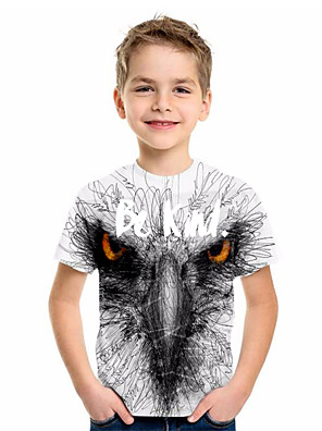cheap Boys' Tops-Kids Boys' Basic Animal Print Short Sleeve Tee Black