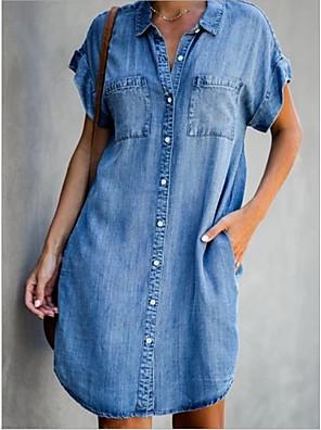 cheap Casual Dresses-Women's Denim Shirt Dress Short Mini Dress - Short Sleeves Pocket Summer Shirt Collar Casual 2020 Light Blue S M L XL XXL