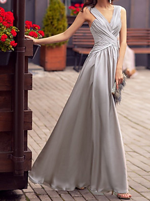 cheap Prom Dresses-A-Line Elegant Beautiful Back Party Wear Prom Dress V Neck Sleeveless Floor Length Charmeuse with Criss Cross 2020