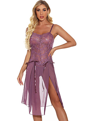 cheap Sexy Bodies-Women's Lace Mesh Split Suits Nightwear Solid Colored Light Blue / Black / Purple S M L