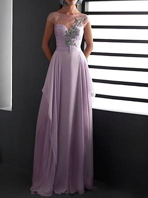cheap Evening Dresses-Sheath / Column Elegant Floral Engagement Formal Evening Dress Illusion Neck Short Sleeve Floor Length Chiffon Lace with Pleats Appliques 2020