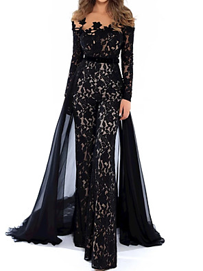 cheap Prom Dresses-Jumpsuits Beautiful Back Floral Engagement Formal Evening Dress Illusion Neck Long Sleeve Floor Length Lace Tulle with Appliques 2020