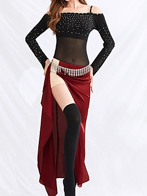 cheap Free Shipping-Belly Dance Skirts Sash / Ribbon Beading Split Women's Performance Charmeuse