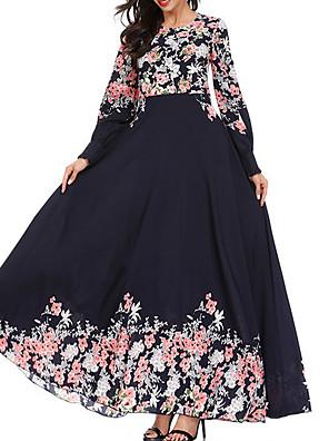 cheap Plus Size Dresses-Women's A-Line Dress Maxi long Dress - Long Sleeve Floral Spring Fall Work 2020 Black Blushing Pink Navy Blue M L XL XXL