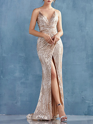 cheap Special Occasion Dresses-Mermaid / Trumpet Sexy Sparkle Engagement Formal Evening Dress V Neck Sleeveless Sweep / Brush Train Sequined with Ruched Split 2020