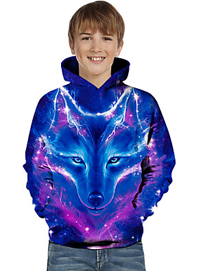 cheap Boys' Tops-Kids Toddler Boys' Active Basic Wolf Geometric Color Block Animal Print Long Sleeve Hoodie & Sweatshirt Blue