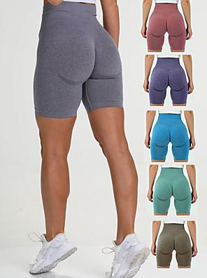 cheap Leggings-Women's High Waist Yoga Shorts Seamless Shorts Butt Lift 4 Way Stretch Moisture Wicking Purple Red Blue Nylon Gym Workout Running Fitness Sports Activewear High Elasticity Slim