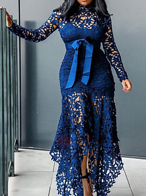 cheap Wedding Dresses-Sheath / Column Cut Out Plus Size Party Wear Prom Dress High Neck Long Sleeve Floor Length Lace with Sash / Ribbon Lace Insert 2020