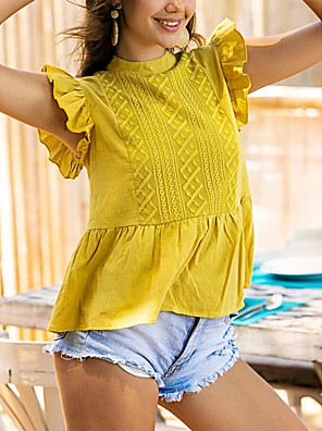 cheap For Young Women-Women's Blouse Solid Colored Ruffle Round Neck Tops Summer Yellow