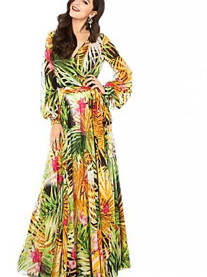 cheap Print Dresses-Women's Sheath Dress Maxi long Dress - Long Sleeve Floral Print Tie Dye Print Spring Fall V Neck Casual Holiday Going out Lantern Sleeve 2020 Blue Purple Yellow Green Rainbow S M L XL XXL XXXL