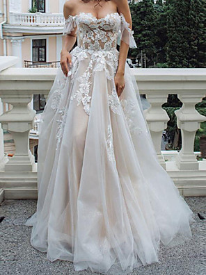 cheap Wedding Dresses-A-Line Wedding Dresses Off Shoulder Floor Length Lace Tulle Sleeveless Country with Appliques 2020