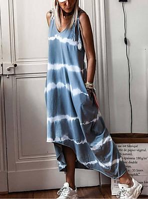 cheap Summer Dresses-Women's Strap Dress Maxi long Dress - Sleeveless Striped Tie Dye Summer Casual 2020 Light Green Light Blue S M L XL