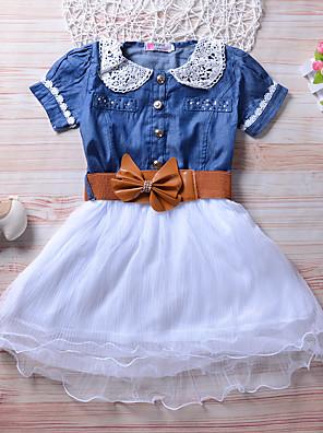 baratos Conjuntos para Meninas-Infantil Para Meninas Activo Estilo bonito Azul Sólido Manga Curta Altura dos Joelhos Vestido Azul