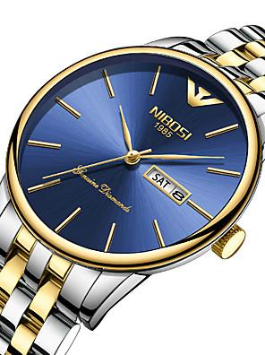 Недорогие Кварцевые часы-NIBOSI Муж. Нержавеющая сталь Кварцевый Спортивные На каждый день Защита от влаги Нержавеющая сталь Черный / Серебристый металл / Золотистый Аналого-цифровые - Черный + Gloden Белый + Золотой Белый