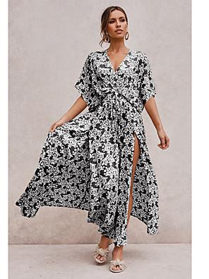 preiswerte Für Junge Frauen-Damen Swing Kleid Maxikleid - Halbe Ärmel Geometrisch Gespleisst Druck Sommer Boho Urlaub 2020 Schwarz Gelb Grün S M L XL