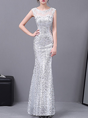 cheap Evening Dresses-Mermaid / Trumpet Elegant Sparkle Wedding Guest Formal Evening Dress Illusion Neck Sleeveless Floor Length Lace with Appliques 2020