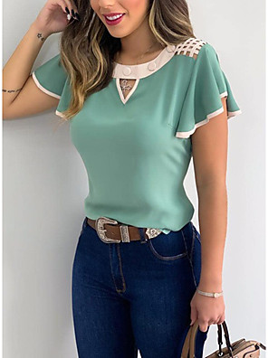 cheap Women's Blouses & Shirts-Women's T-shirt Solid Colored Tops - Cut Out Round Neck Basic Daily Summer White Black Orange S M L XL 2XL