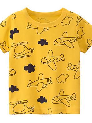 cheap Boys' Tops-Kids Boys' Street chic Geometric Short Sleeve Tee Yellow