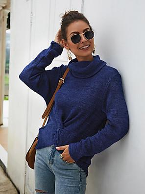 Χαμηλού Κόστους Μακριά Φορέματα-Γυναικεία Καθημερινά Μονόχρωμο Πουλόβερ Μακρυμάνικο Πουλόβερ ζακέτες Ζιβάγκο Φθινόπωρο Χειμώνας Θαλασσί Ρουμπίνι Γκρίζο